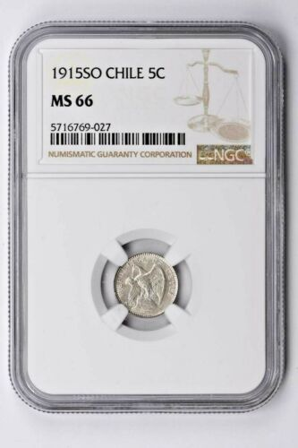 1915SO Chile 5 Centavos NGC MS 66 Witter Coin