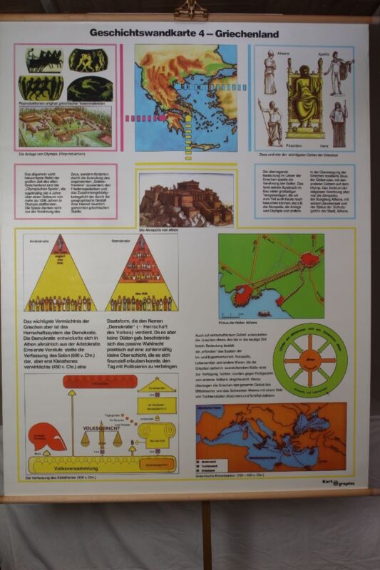 Schulwandkarte Role Map Wall Chart Geschichtswandkarte 4 Greece