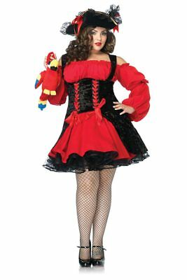 Plus Size Pirate Kostüm (Womens Plus Size Sexy Vixen Pirate Wench Dress Roleplay Costume)