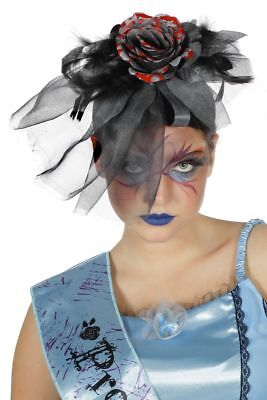 WIL - Kostüm Zubehör Haarreif mit grauer Blume Zombie Geisterbraut  ()