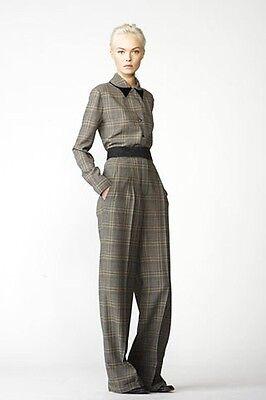 Chloe Net A Porter Plaid Herringbone Wide Leg High Waist Dress Pants 38 4 New