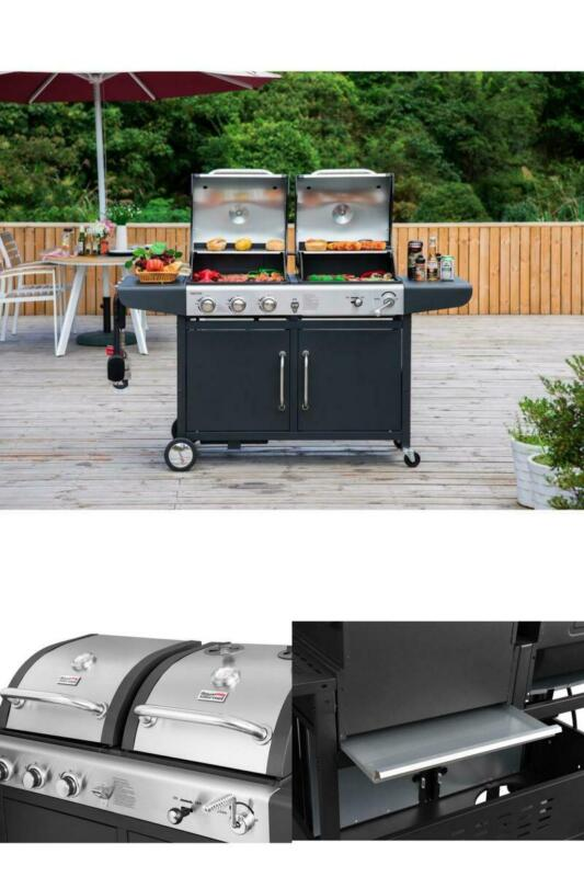 Propane Gas 3 Burner and Charcoal Combo Grill Outdoor Cookin