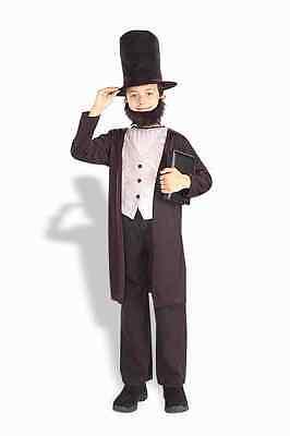 Abraham Lincoln Child Costume 3 Pc Black Coat/Vest Hat & Beard History Costume L