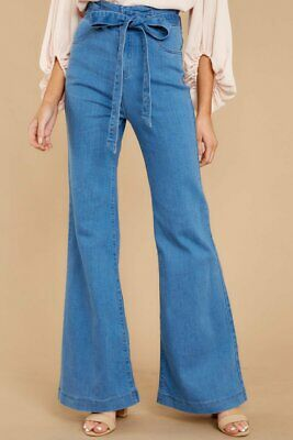 Belt Stretch Elastic Wide Leg Jeans Ladies High Waist Denim Flared Womens Pants Belted Flared Pants