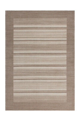 High Quality Carpet Hand Knotted Stripes Wool Beige Écru 80x150cm