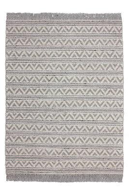 Fransen Wollteppich Teppich Wolle Scandi Azteken Design Struktur Garn Grau - Baumwolle Teppich Garn