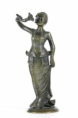 antique 19th C Burmese bronze statue, Lady of Burma, exquisite details