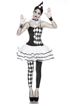 Harlekin Clown Damen Kostüm 5-tlg. Komplettset Themen Kinderparty FANTASIE (Clown Kostüme Damen)