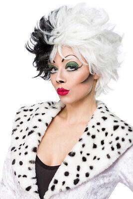 Dalmatiner Perücke Cruella schwarz-weiss, Kurzhaar Damen p.zum Kostüm