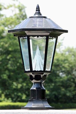 "OPEN BOX Gama Sonic WINDSOR Solar Lamp 3"" Pole Mount black outdoor light     99F"