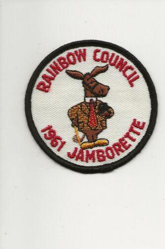 """RAINBOW COUNCIL / 1961 JAMBORETTE  """" PEDRO """" patch - Boy Scout BSA /7-18"""