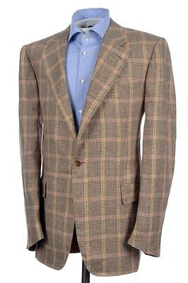 New H Huntsman Brown Beige Plaid Check 1 Btn Linen Sport Coat Blazer Jacket 40 L