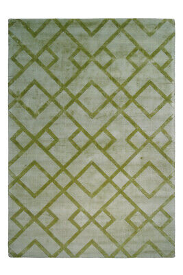 Zig Zag Pattern Carpet Rug Viscose Hand Woven Kurzflorteppich Green 120x170cm