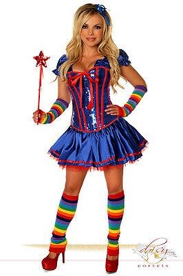 Sexy Daisy Corset Sexy Rainbow Brite Girl Costume  SMALL Halloween Rave Festival (Rainbow Brite Costume Adults)