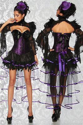 Sexy Burlesque-Volant Rock In Schwarz oder Schwarz/Lila - Lila Burlesque Kostüme