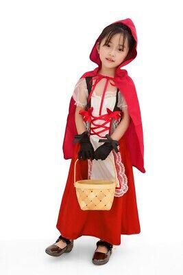 Childrens Girls Cute Little Red Riding Hood Halloween Costume Dress + Cape ZG9](Cute Little Red Riding Hood Costumes)