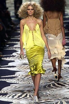 YSL Yves Saint Laurent rive gauche 42 10 Yellow Pom Pom Strappy Silk Top Blouse