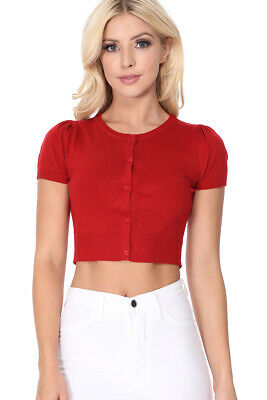 YEMAK Women's Cropped Bolero Short Sleeve Button-Down Cardigan Sweater CB0536