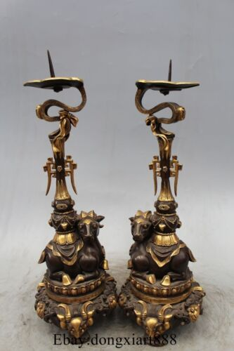 """16"""" Chinese Bronze 24K Gold Sheep Candle Holder Candlestick Pair"""
