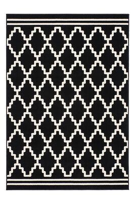 Rauten Muster Teppich Modern Schwarz Elfenbein 3D Effekt Teppiche 80X300Cm - Schwarz Elfenbein Teppich