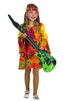 Hippie Kleid Mädchen Gr. 128/140 Kostüm Flower Power Karneval