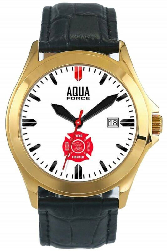 Aquaforce 55Y Firefighter Deluxe Leather Strap Analog Watch - Stainless Steel Go