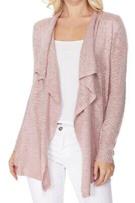 YEMAK Women's Long Sleeve Sheer Slub Open Front Casual Cardigan Sweater MK8080