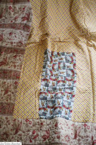 Antique WIDE French QUILT BOUTIS piqué PROVENCE indiennes patched c1880
