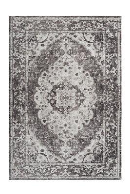 Vintage Teppich Orientalischer Ornamente Wohnzimmer Grau Anthrazit 200x290cm