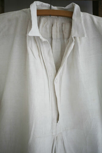 Antique French RUSTIC peasant LINEN man shirt SMOCK GG mono c 1880