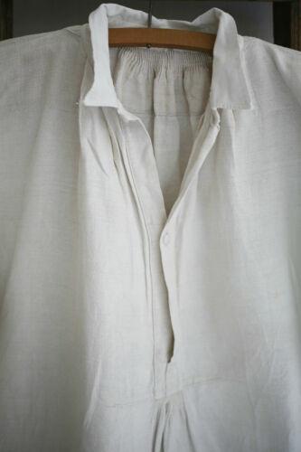 Antique French RUSTIC peasant LINEN man shirt SMOCK GG mono c 1880