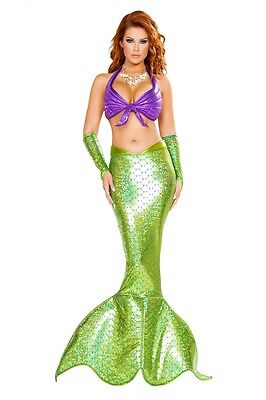 Mermaid Meerjungfrau Kostüm lila grün Rock Top Fasching Karneval Fasnacht ()