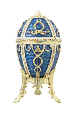 Used, Decorative Faberge Egg Music Box Trinket Jewel Box with Arrows 3.9'' 10cm blue for sale  Shipping to United States
