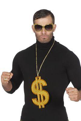 WIL - Kostüm Zubehör Kette großes Dollarzeichen Rapper Pimp Karneval  (Rapper Halloween Kostüme)