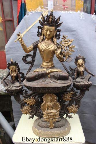 """41"""" Chinese Bronze Gilt Monju Manjuist Kwan-yin Bodhisattva Goddess Statue"""