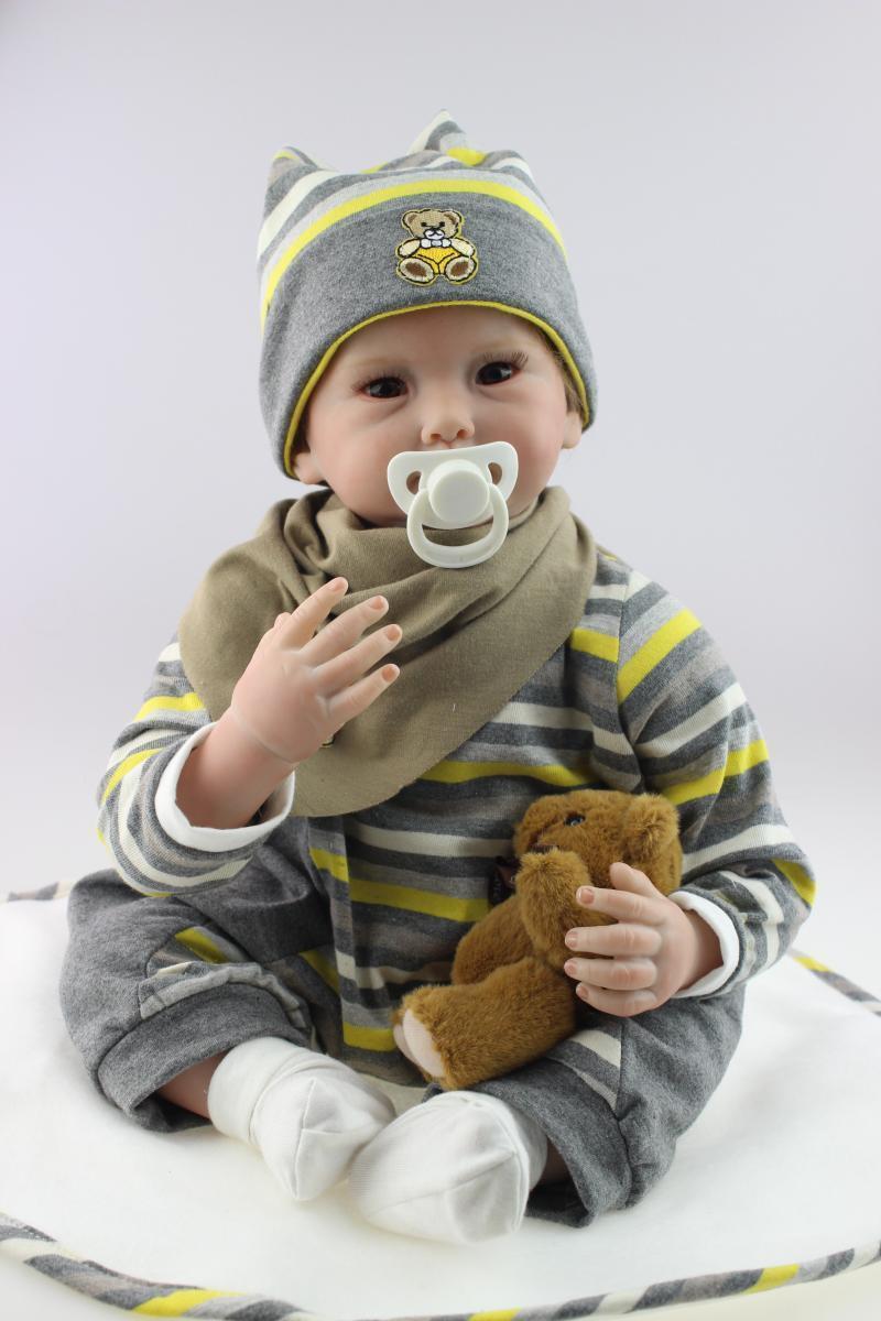 22/'/' Handmade Alive Reborn Boy Doll Soft Vinyl Newborn Lifelike Baby Doll Gifts