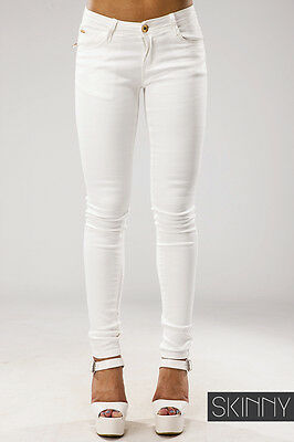Womens Ladies Super SKINNY Fit Low Waist White Jeans Jeggings UK ...