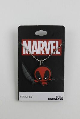 Marvel Comics Deadpool Kawaii Ninja Chibi Rubber Pendant Shot Bead Necklace