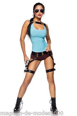 Lara Croft Tomb Raider Gamer Girl Komplettset Kostüm Fasching Karneval (Lara Croft Kostüm)