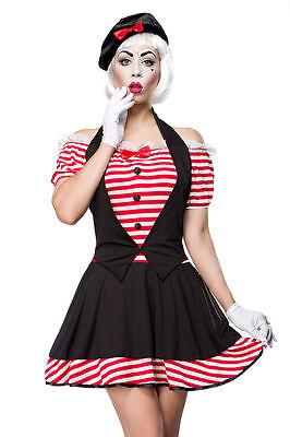 Mime Kostüm Fasching Sexy Pantomime Karneval Damen Clown Verkleidung Girl NEU