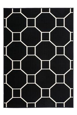 Flachflor  Modern Kasten Design Teppich 3D Effekt Schwarz Elfenbein 80X150Cm - Schwarz Elfenbein Teppich
