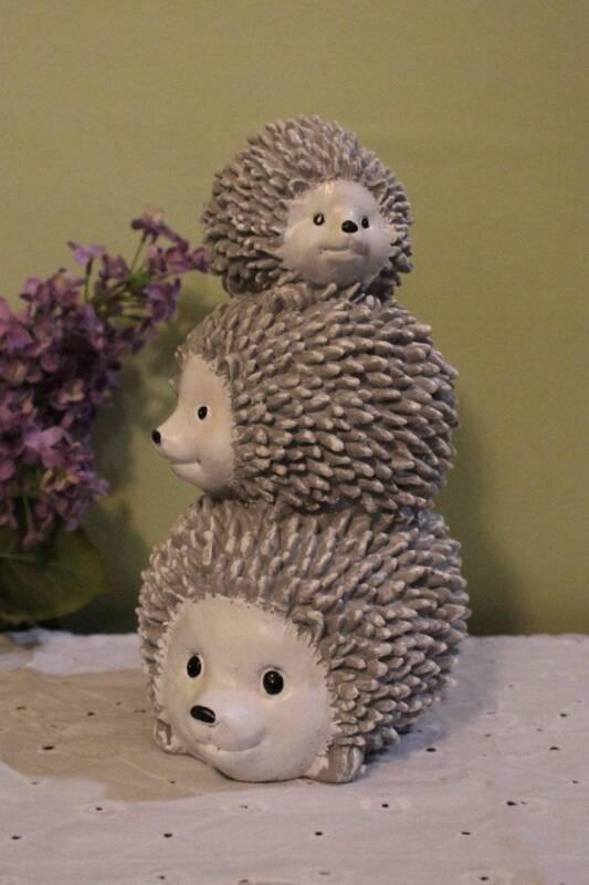 Hedgehog Stack Statue Door Stop Indoor Outdoor Resin 10 inch