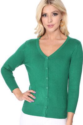 YEMAK Women's 3/4 Sleeve V-Neck Button-Down Sweater Cardigan CO078PL (1X-3X)