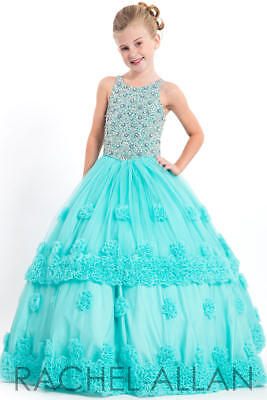 Perfect Angels 1669 Winning Tiffany Blue Girls Pageant Gown Dress sz 10 NWT - Girls Tiffany Blue Dress