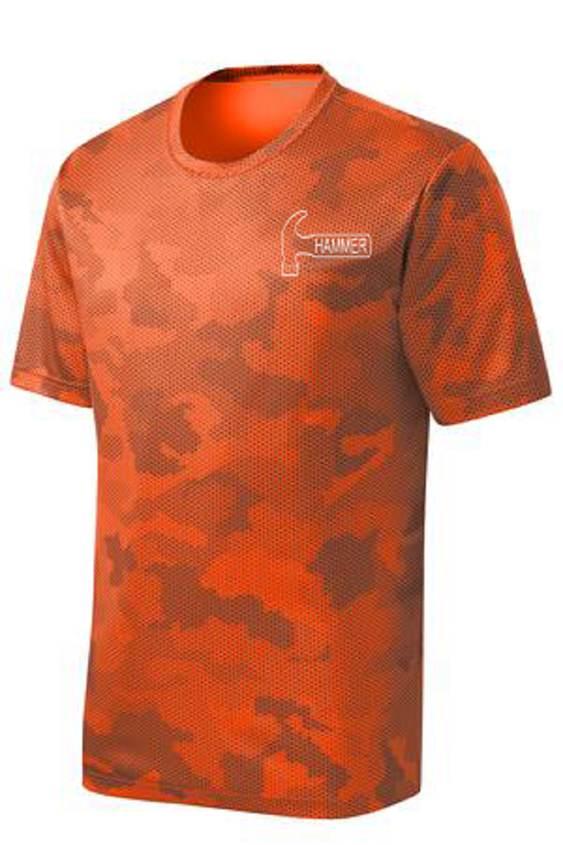 Hammer Men's Jacked Performance Crew Bowling Shirt Dri-fit Orange