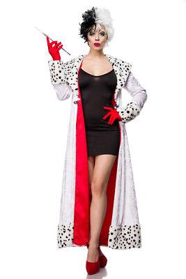 Dalmatiner Kostüm Cruella Kleid m Mantel, Handschuhe Damen mit u. ohne Perücke
