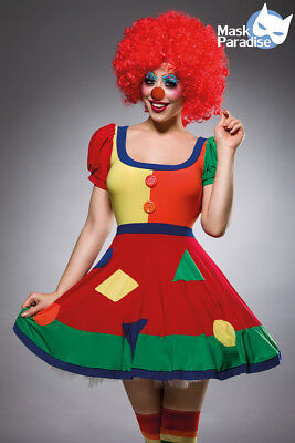nny Clown Damen Kostüm,Perücke,Strümpfe,Nase (Komplettes Clown Kostüm)