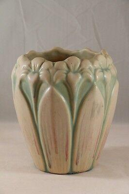 "Vintage BRUSH MCCOY Art Pottery IVOTINT Cream & Green AMARYLLIS 6"" VASE c.1932"