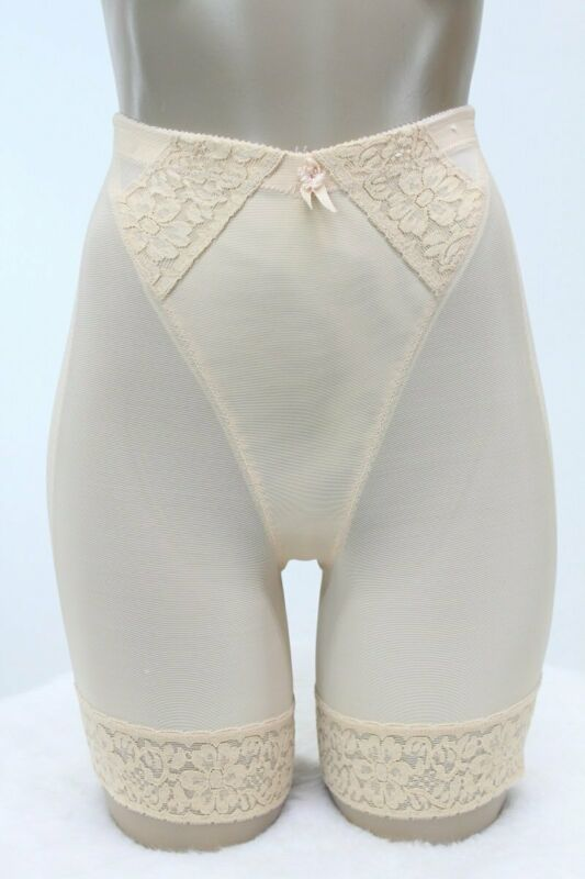 Olga Long leg Girdle Shaper panty #460 Wide lace silicone Peach Beige Vintage M