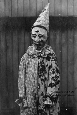 Scary Vintage Creepy Clown PHOTO Circus Freak Strange Weird Halloween Costume